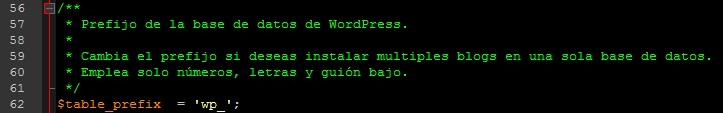 Cambiar nombres de tablas de bases de datos en wp-config.php