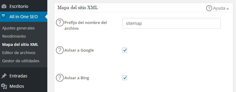 Generar Sitemap con All in One SEO