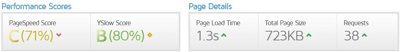 Pagespeed de una plantilla WordPress