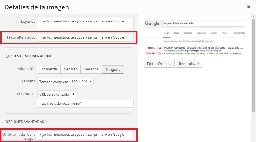 Opciones de imagenes con alt y title o texto alternativo en WordPress