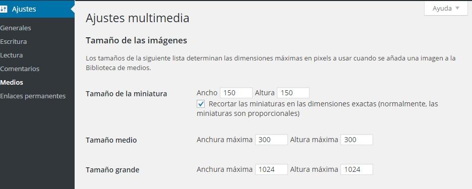 Ajustes de Medios - Tamaños de miniatura de WordPress