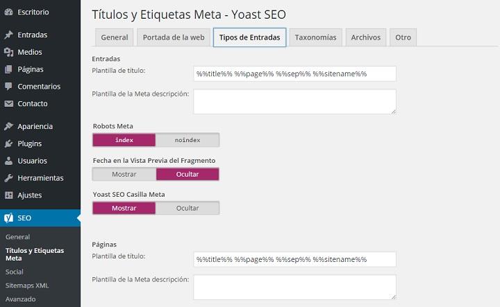 Reglas de metadatos en el plugin Yoast SEO